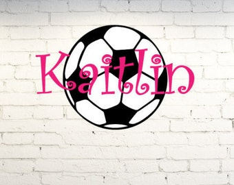 Vinyl wall art. Personalized soccer ball with name. Custom vinyl wall decor. Custom wall art for girls room. Personalized soccer girls