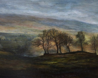 West Burton - Bishopdale North Yorkshire Dales trees skies sunset fields Landscape Print from Original Oil Landscape Painting