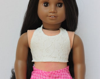 """Flamingo & Cotton Candy Pink Polka Dot Shorts for 18"""" Dolls such as American Girl"""