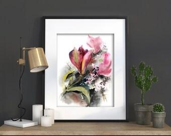 Watercolor Print, Astroemeria Painting, Watercolor Painting Art Print, Floral Modern Wall Art, Pink Green