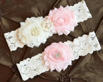 LIGHT PINK  Wedding Garter, Bridal Garter Set - Ivory Lace Garter, Keepsake Garter  Light Pink Wedding Garter, Blush Wedding Garter Belt
