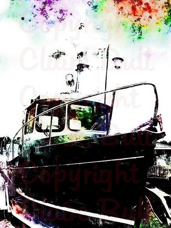 Boat Art Print - Boats - Nautical Art Print - Black Tugboat - Ship Marine Art - Boat Painting - Colorful Art Print - Art by Claire Bull