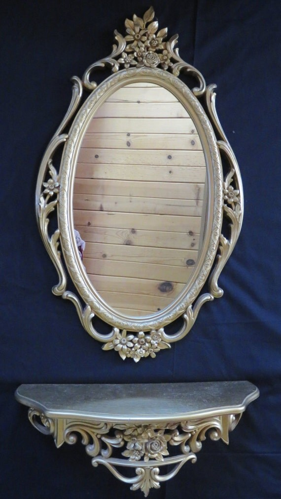 Syroco Ornate Gold Oval Mirror And Shelf Hollywood By
