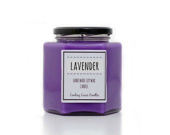 Lavender Scented Candle, Essential Oil Candle, Lavender Candle, Lavender Scent, Soy Wax Candle, Purple Candle, UK Candles, Candles, Candle