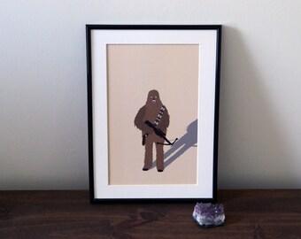 Chewbacca illustration A4 print - Star Wars Print - A4 art print - home decor - wall art - Star wars illustration - Wall art - Chewbacca