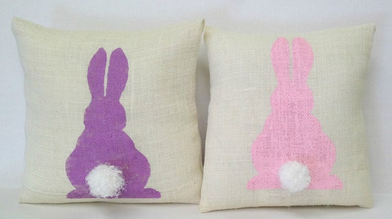 Easter Pillow - Purple Bunny With Cottontail,Burlap Pillow,Spring Pillows, Easter Decor, Bunny Pillow,Rabbit Pillow,Easter Decoration,Spring