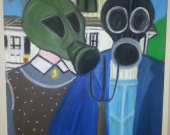 Nuclear Bomb American Gothic Oil Pastel Painting