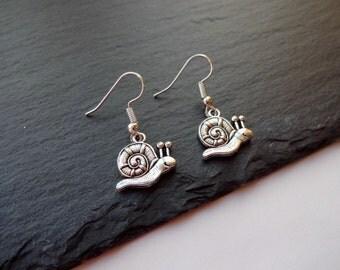 Snail Earrings, Charm Earrings, Silver, Gifts, Animal Earrings, Snail Jewellery, Jewelry, Gift