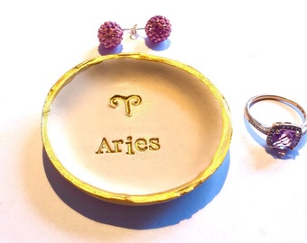 Zodiac Jewelry Dish, Sagittarius Star Sign, Constellation Aries Jewelry Dish, Christmas Gift Ideas, Gold Ring Dish, Horoscope Jewelry Bowl