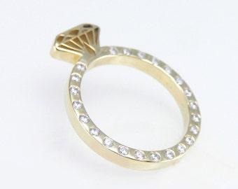 Diamond ring,Gold Ring, Diamond Engagement ring , Diamond shaped gold ring with diamonds, Diamond silhouette ring, Diamond shape ring