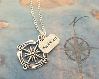 Compass Necklace, Wanderlust Charm, Travel Jewellery, Silver Compass, Travelling Gift, Journey Necklace, Compass Pendant, Traveller Gift