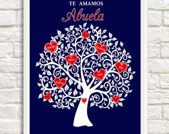 Mother's Day Gift for Abuela, Abuela Family Tree, Personalized Abuela Gift,  Heart Family tree for Abuela, Custom Wall Art
