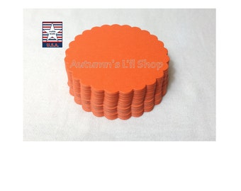 60 Orange Scalloped Circle Cupcake Topper Gift Tag Baby Shower Favor Tag Wedding Favor Tag Cardstock Shape Card Making Scallop Circle Label