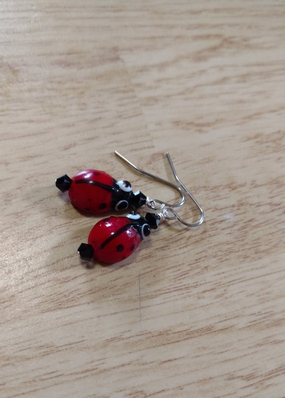 Glass Ladybug Earrings with Black Swarovski Crystal Elements on Stainless Steel Earwire