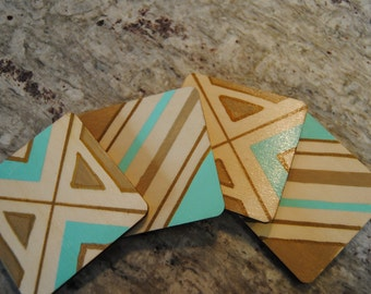 Coasters Hand Painted Birch Wood