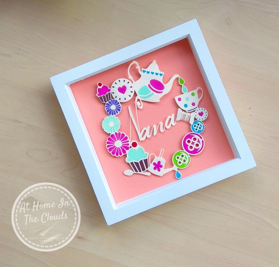 Paper Cutting Template, Personal and Commercial Use, Nana, Personalise, Flower, Tea Time, Button, Frame, Printable PDF, DIY, Cut Your Own