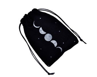 Hand Painted Drawstring Bag, Witch Bag, Sack Bag, Tarot Bag, Wiccan Bag, Carry Sack, Moon Phases, Pouch Bag, Pagan Gift