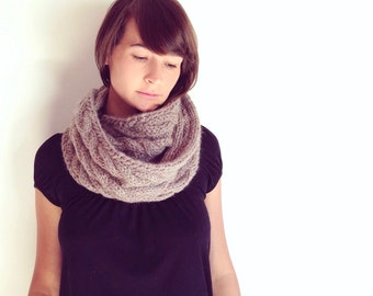 Knitted Snood, Gifts for her, Infinity Scarf Knit, Circle Scarf Hand knitted, Baby Alpaca Scarf, Womens Scarf 100% Baby Alpaca