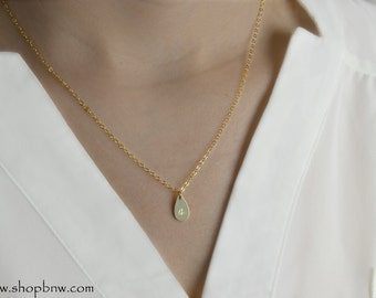 Teardrop Tag Initial Necklace, Gold necklace,  Personalized Initial Necklace, bridal necklace, bridesmaid, mothers day gift, TEARDROP