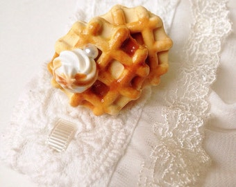 Waffle Ring, Cute Ring, Kawaii Ring, Sweets Ring, Food Jewellery, Decoden Ring- Caramel and whipped cream waffle