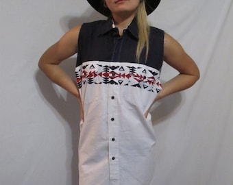 Reworked Vintage Button Up Muscle Dress