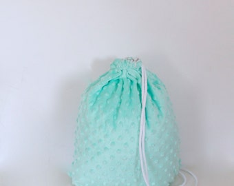Minky dots turquoise gym bag - hannisch