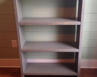 Handmade Solid Wood Pine Bookcase, Rustic, Distressed