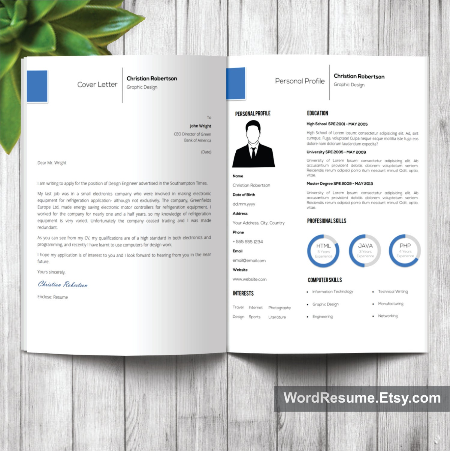 8 page Exclusive Resume Template Cover Letter References – Portfolio Word Template