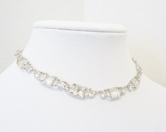Vintage Sterling Silver Crystal Choker Necklace
