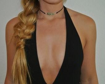 Sea Glass Choker | Choker Necklace | Thin Leather Choker | Black Choker | Brown Choker | The Sandy Vine | Boho Choker