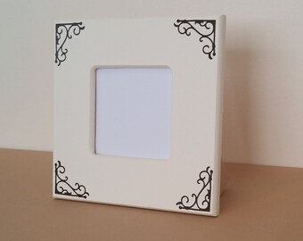 picture frame, 4 x 6 picture frame, cream picture frame, 3 x 3 picture frame, photo holder, custom picture frame, wood picture frame brown