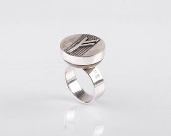 """925 Sterling Silver Ring With Celtic Rune """"Fehu"""""""