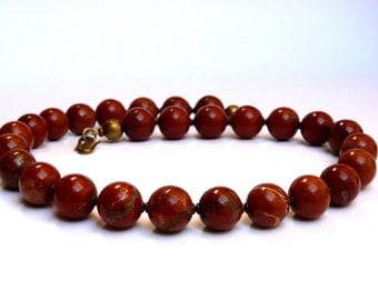 Necklace of Red Jasper gemstone with drawing opulent statement