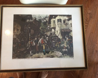 "Hand Colored Etching of DeFregger's ""The Last Contingent"""