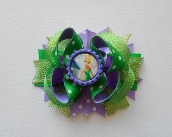 Disney Tinkerbell Handmade Boutique Layered Hair Bow