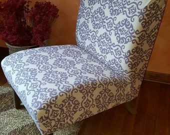 Upcycled Vintage Reupholstered Armless Accent Chair
