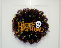Halloween Wreath, Deco Mesh Wreath, Geo Mesh Wreath, Fall Autumn Wreath, Happy Halloween Sign, Door Wall Home Decor, Halloween Decor