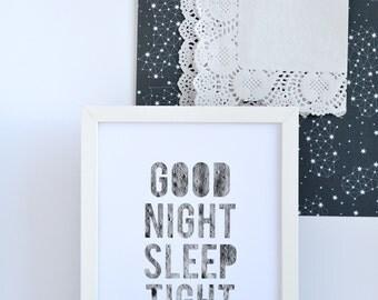 Outer Space Nursery Decor, Good Night Sleep Tight, Celestial Nursery Art for Baby, Moon Art for Boys Room, Limited Edition
