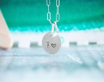 Personalized Tiny Letter & Heart Necklace  {Hand Stamped Sterling Silver}