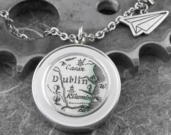Reversible Dublin Compass Airplane Necklace  - Finding My Way Back to Dublin by COGnitive Creations