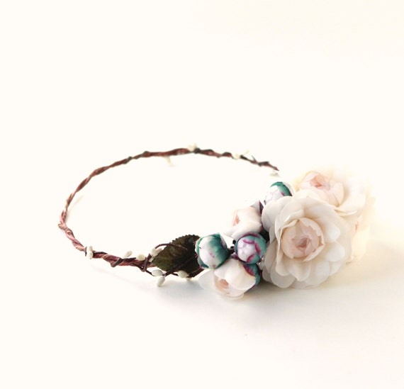 Ivory blush peony crown, Floral hair wreath, Bridal flower crown, Woodland rustic wedding, Unique bridal accessory, Peony floral circlet