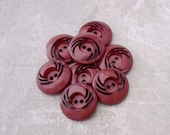 Pierced Vintage Buttons 21mm - 7/8 inch Carved Retro Mod Maroon Red Vintage Buttons - 8 VTG NOS Burgundy Red Plastic Sewing Buttons PL537