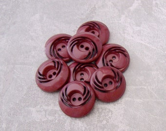 Burgundy Red Buttons, 21mm 3/4 inch - Pierced Retro Maroon Red Sewing Buttons - 8 VTG NOS Carved Wine Red Plastic Sew Through Buttons PL537