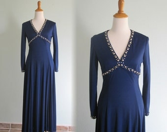 Slinky 70s Midnight Blue Jersey Dress with Silver Studs - Vintage Blue Maxi Dress with Beaded Neckline - Vintage 1970s Dress M
