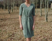 Womens VNeck Jersey Knit Cotton Dress with Pockets Handmade in the USA - Luana V Neck