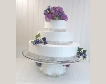 """16"""" Cut Glass Pedestal Wedding Cake Stand Made from Vintage Dishes"""
