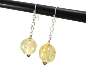 Yellow Drop Earrings Sterling Silver Chain Dangle, Golden Yellow Earrings Resin Glitter with Chain Drop, Resin Earrings Yellow Jewelry Gift