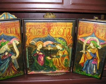 Stunning 27x14.Byzantine Religious Triptych/Trifold Desk Top Old Wooden Devotional Virgin Mary/Madonna & Saints Icon Signed.