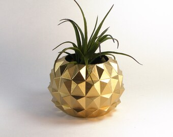 Zen Decor Golden Planter Golden Stud Decor Studded Cactus Pot