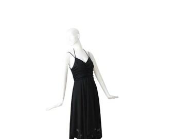 1970s Dress • 70s Sun Dress • Black Party Dress • Small Medium S M